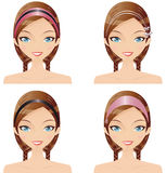 Fashion Accessories. Digital Collage Of A Woman Wearing Her Hair In Varying Styles With Accessories Stock Photo