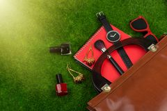 Fashion accessories - bag, note pad, watch, sunglasses and other essentials on the grass. Female fashion accessories - bag, note pad, watch, sunglasses and other Royalty Free Stock Photo