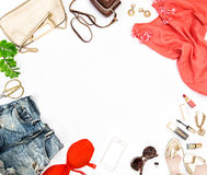 Fashion accessories, cosmetics, bag, shoes Social media. Fashion accessories, cosmetics, bag, shoes. Hero header for feminine website, bloggers, social media Royalty Free Stock Photo