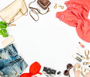 Fashion accessories cosmetics bag shoes Summer holidays. Fashion accessories, cosmetics, bag, shoes. Hero header for feminine website, bloggers, social media Stock Photos