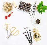 Fashion accessories, cosmetics, coffee. Flat lay social media Stock Image