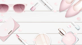 Fashion accessories and cosmetics collection vector illustration Royalty Free Stock Photo