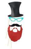 Fashion accessories for a fun holiday of paper, lips, mustaches, Royalty Free Stock Image