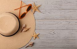 Free Fashion Accessories - Hat, Glasses Orange Color On A Wooden Back Royalty Free Stock Photos - 105728248