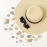 Fashion Accessories - Hat, Sunglasses And Bracelets. Marine Concept Sea Shells And Sea Pebbles. Stock Photography