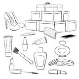 Fashion accessories and makeup set Stock Photography