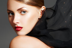 Fashion accessories. Model with chic lips make-up