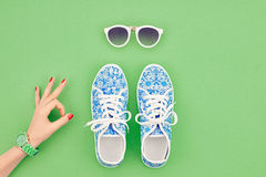 Fashion Accessories Set. Outfit.OK Gesture.Minimal Royalty Free Stock Images