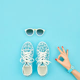 Fashion Accessories Set. Outfit.OK Gesture.Minimal Royalty Free Stock Photos