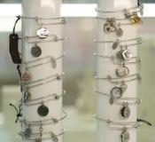 Fashion accessories. Stylish trendy jewelry, glamor bracelets stock photography