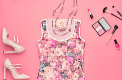 Fashion Accessories. Top view. Essentials Cosmetic Royalty Free Stock Images