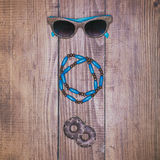 Fashion accessories on vintage wooden surface Stock Photos