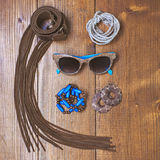 Fashion accessories on wooden background Royalty Free Stock Photos