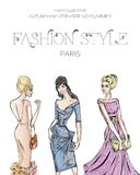 Fashion advertising brochure with set of beautiful women models, Paris business card, beauty girls hand drawn  illustration. Art Stock Images