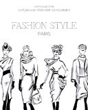 Fashion advertising brochure with set of black and white beautiful women models, Paris business card, beauty girls hand drawn vect. Fashion advertising brochure Royalty Free Stock Photo