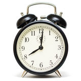 On fashion alarm clock. Traditional alarm clock isolated on a white background Royalty Free Stock Photography