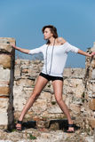 Fashion amongst ancient ruins in Avdira Royalty Free Stock Images