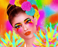 Free Fashion And Beauty Image Of A Woman In A Colorful Outfit With Feathers And Matching Accessories Royalty Free Stock Image - 76110066