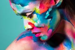 Fashion And Creative Makeup, Young Beautiful Woman Abstract Face Art, Stock Photos