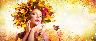 Fashion Art in Autumn - Artistic Makeup. With Hairstyle Nature royalty free stock photos