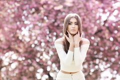 Fashion Art Beauty Portrait. Beautiful Girl in Fantasy Mystical and Magical Spring Garden. Model. Woman royalty free stock image