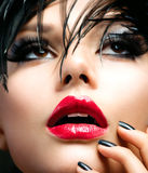 Fashion Art Girl Portrait. Beautiful Brunette Royalty Free Stock Photos