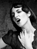 Fashion art girl portrait.Vamp style. Glamour vampire woman.Studio shot Royalty Free Stock Image