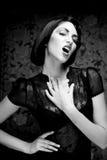 Fashion art girl portrait.Vamp style. Glamour vampire woman.Studio shot Royalty Free Stock Photography