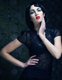 Fashion art girl portrait.Vamp style. Royalty Free Stock Photo