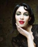 Fashion art girl portrait.Vamp style. Glamour vampire woman.Studio shot Stock Image