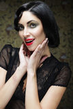Fashion art girl portrait.Vamp style. Glamour vampire woman. Stock Photos