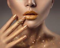 Fashion art golden skin woman face portrait Stock Image