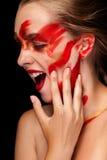 Fashion art paint make up on beautiful girl Royalty Free Stock Photo