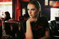Fashion art photo of an attractive young brunette Royalty Free Stock Images