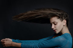 Fashion art photo of lady with long healthy hair Royalty Free Stock Images