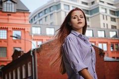 Fashion art photo. Portrait of woman with long red hair, outdoors. Fashion art photo. Portrait of woman with red hair, outdoors royalty free stock photos