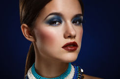 Fashion art portrait of beautiful woman with bright make up. Vog Royalty Free Stock Image