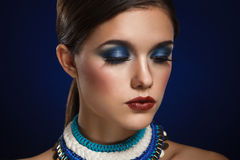 Fashion art portrait of beautiful woman with bright make up. Royalty Free Stock Photos