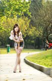 Fashion asian girl in hot pants Royalty Free Stock Images