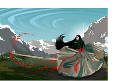 Fashion asian girl in mountains with red flowers. Fashion asian girl dressed in long skirt with red belt in spring mountains with flying red color flowers Stock Image