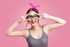 Fashion asian woman having fun dance with dark hair and red lips Royalty Free Stock Photography