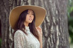 Fashion asian woman outdoors Royalty Free Stock Images