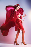 Fashion asian woman wearing traditional japanese red kimono. With umbrella, studio shot. Geisha Royalty Free Stock Photos