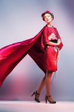 Fashion asian woman wearing traditional japanese red kimono Stock Photo