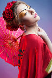 Fashion asian woman wearing traditional japanese red kimono Stock Images