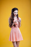 Fashion asian young  girl with mobile phone Royalty Free Stock Images