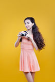 Fashion asian young  girl  photographer with Stock Image
