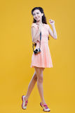 Fashion asian young  girl  photographer with Royalty Free Stock Images