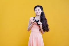 Fashion asian young  girl  photographer with Royalty Free Stock Photos