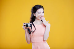 Fashion asian young  girl  photographer with Royalty Free Stock Photography